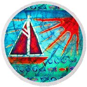 Sailboat In The Sun Round Beach Towel