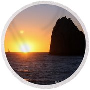 Sailboat In The Sunset Cabo San Lucas Mexico Round Beach Towel
