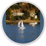 Sailboat In Vancouver Round Beach Towel