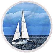 Sailboat No. 143-1 Round Beach Towel