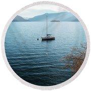 Sailboat On Lake Maggiore Round Beach Towel