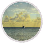 Sailboat On The Horizon Round Beach Towel