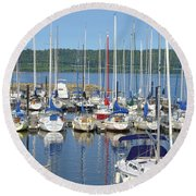Sailboat Reflections Round Beach Towel