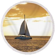 Sailboat Sailing Off Of Anse Chastanet At Sunset Saint Lucia Caribbean  Round Beach Towel