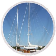Sailboat Summer Vacation Scene Round Beach Towel