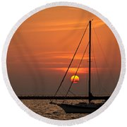 Sailboat Sunrise Chicago Round Beach Towel