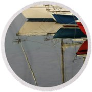 Sailboats And Reflections Round Beach Towel