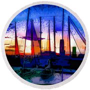 Sailboats At Rest Round Beach Towel