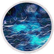 Sailboats In A Storm Round Beach Towel