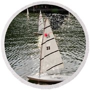 Sailboats In Central Park Round Beach Towel