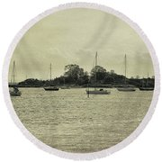 Sailboats In Gloucester Harbor Round Beach Towel