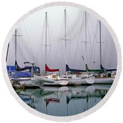 Sailboats In The Fog Round Beach Towel