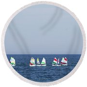 Sailboats In The Mediterranean Sea  Round Beach Towel