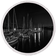 Sailboats Moored For The Evenin Round Beach Towel