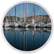 Sailboats Reflected Round Beach Towel