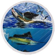 Sailfish In Costa Rica Round Beach Towel