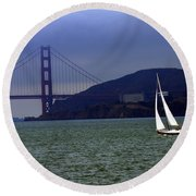 Sailing And The Golden Gate  Round Beach Towel