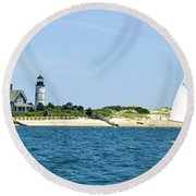 Sailing Around Barnstable Harbor Round Beach Towel