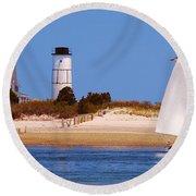 Sailing Around Sandy Neck Lighthouse Round Beach Towel