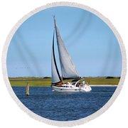 Sailing At Masonboro Island Round Beach Towel