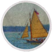 Sailing At Spruce Point Boothbay Harbor Maine Round Beach Towel