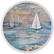 Sailing Away 1 Round Beach Towel