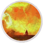 Sailing Away From The Sun Round Beach Towel