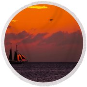 Sailing Boat At Sunset Round Beach Towel