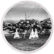Sailing Boat  Black-and-white Round Beach Towel