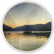 Sailing Boat In The Sunset Round Beach Towel by Joana Kruse