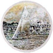 Sailing Boat, Nautical,yachts, Seascape Round Beach Towel