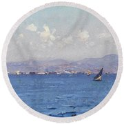 Sailing Boats In  Landscape Round Beach Towel