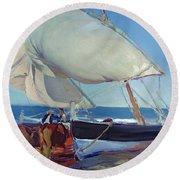 Sailing Boats Round Beach Towel by Joaquin Sorolla y Bastida