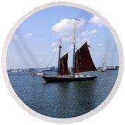 Sailing Boston Round Beach Towel