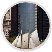 Sailing By Downtown Round Beach Towel