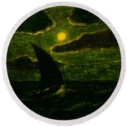 Sailing By Moonlight Round Beach Towel