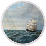 Sailing By The Coas Round Beach Towel