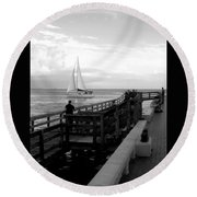Sailing By The Old Pier Round Beach Towel