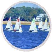 Sailing Charleston Harbor Round Beach Towel