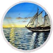Sailing Day Sunset Round Beach Towel