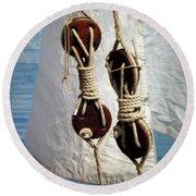 Sailing Dories 2 Round Beach Towel