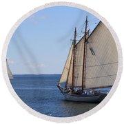 Sailing Downeast Round Beach Towel