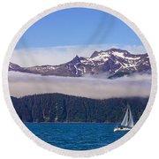 Sailing In Alaska Round Beach Towel