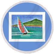 Sailing In Hawaii Round Beach Towel