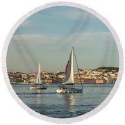 Sailing In Lisbon Portugal Round Beach Towel