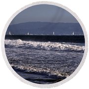 Sailing In Santa Monica Round Beach Towel
