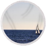 Sailing In Santa Monica II Round Beach Towel