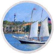 Sailing In St. Augustine Round Beach Towel