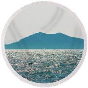 Sailing In The Distance Round Beach Towel