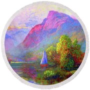 Sailing Into A Quiet Haven Round Beach Towel